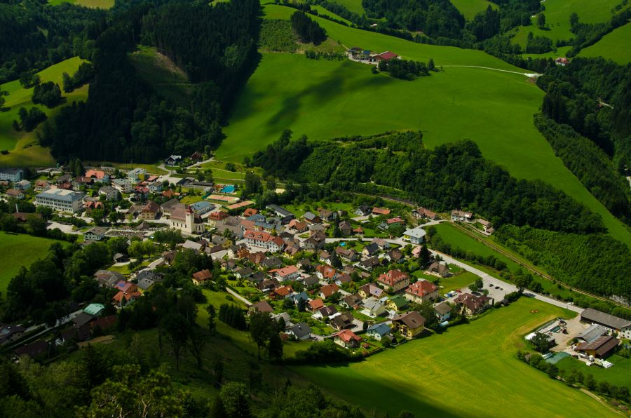 Frankenfels Ort Vogelperspektive