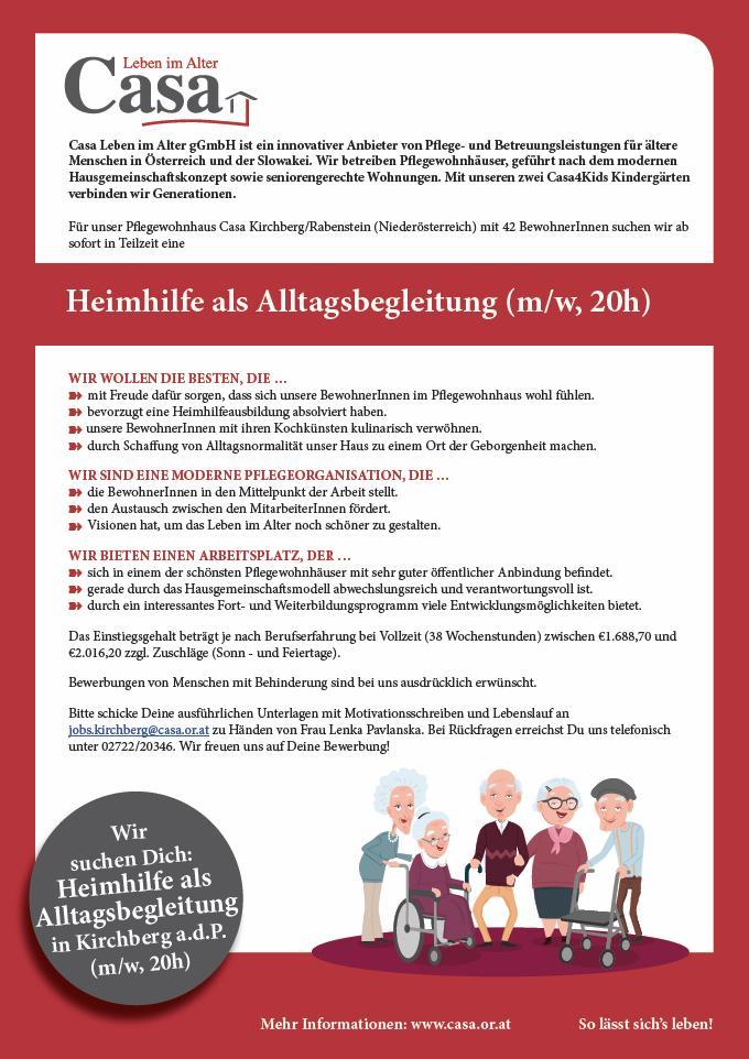 Casa Kirchberg Sucht Mitarbeiterinnen Marktgemeinde Frankenfels