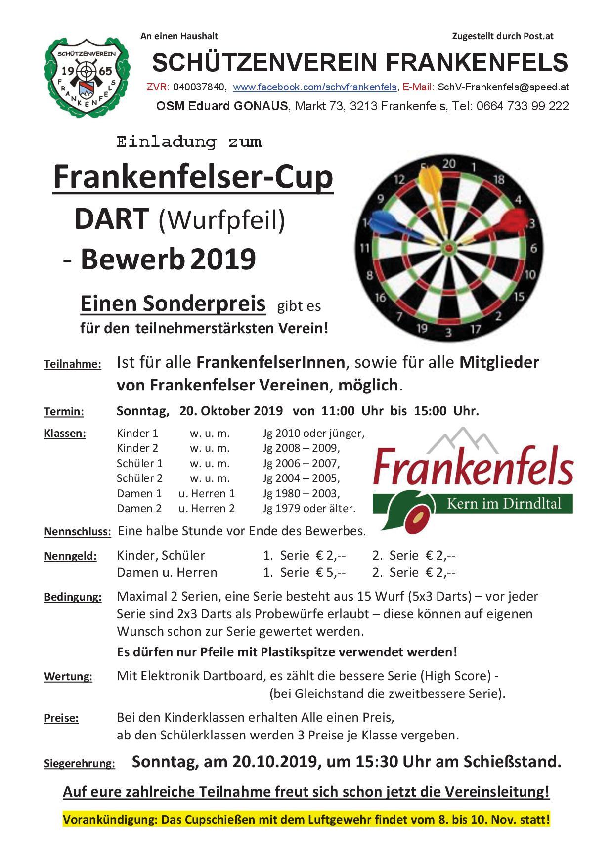 Dart Bewerb 2019 Frankenfels Plakat Ausschreibung