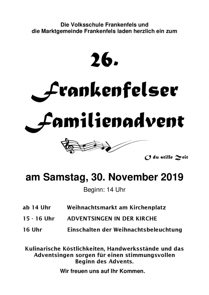 Frankenfelser Familienadvent Plakat