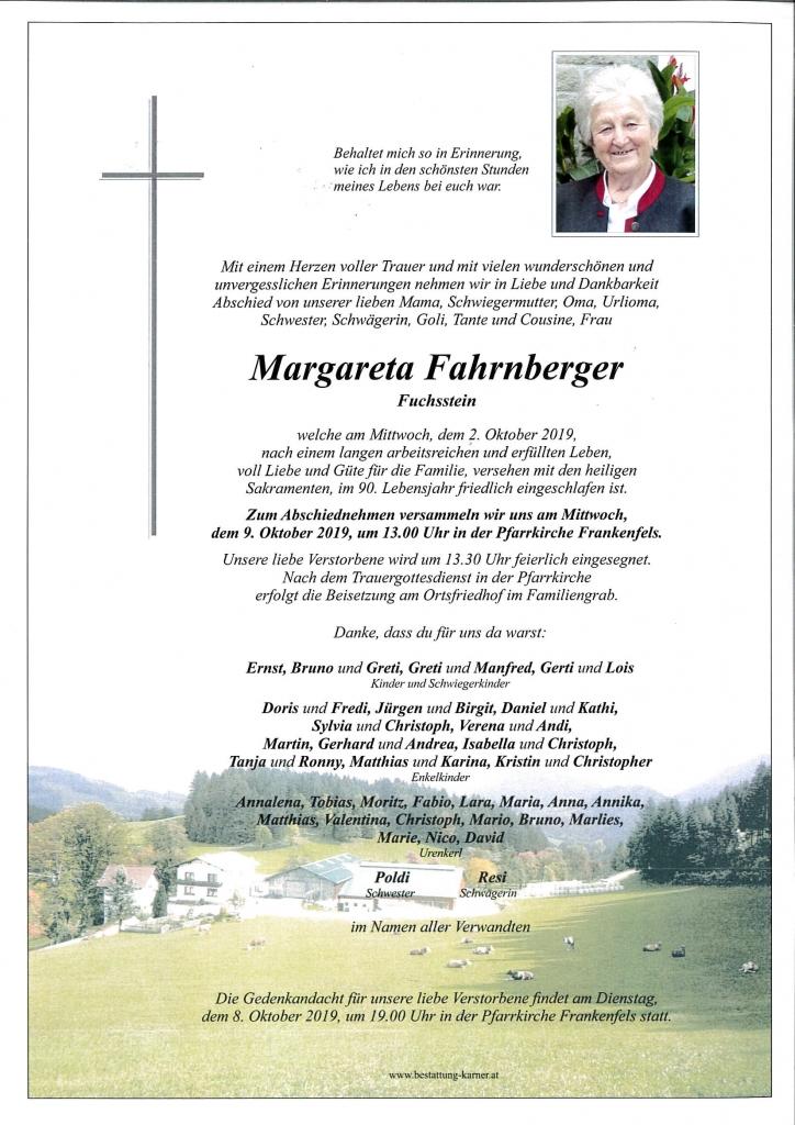 Sterbefall Margarete Fahrnberger