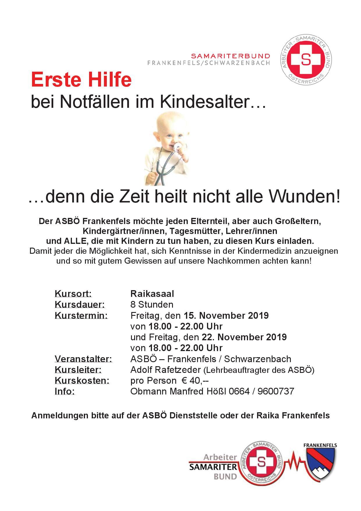 Kindernotfallkurs Frankenfels November 2019