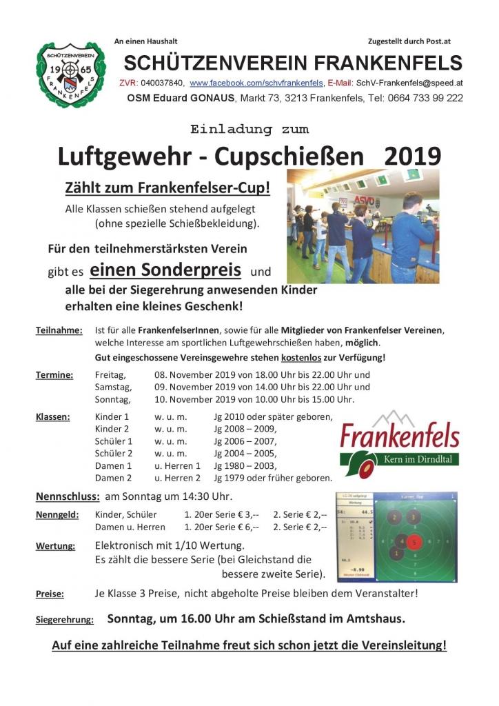 Luftgewehr Cup Schießen 2019 Plakat