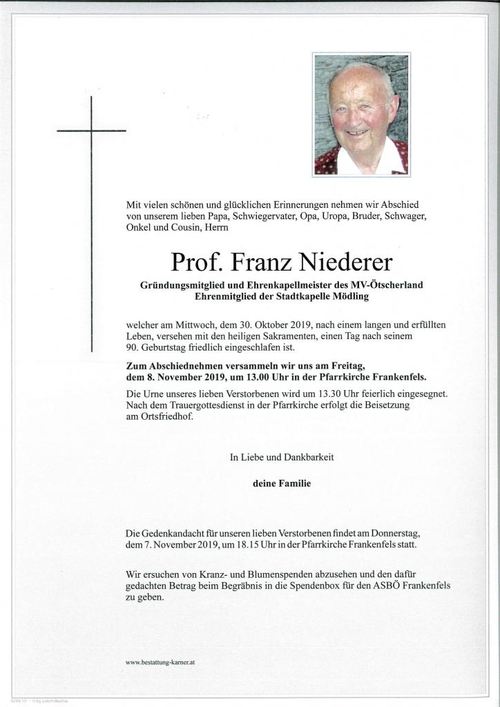 Prof Franz Niederer Traueranzeige