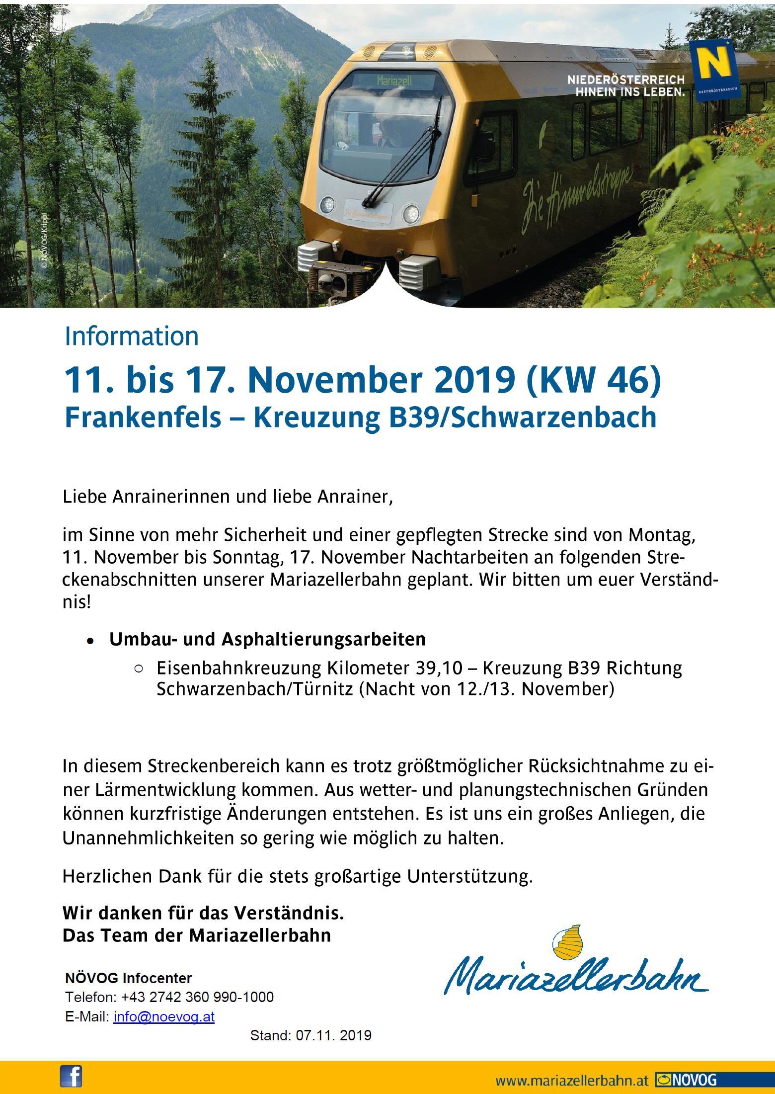Information Mariazellerbahn Frankenfels B39 November