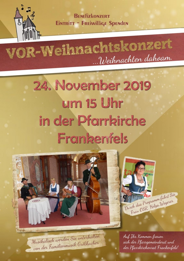 Plakat Vor-Weihnachtskonzert Frankenfels 2019