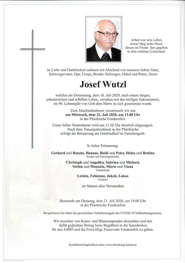Josef Wutzl Traueranzeige